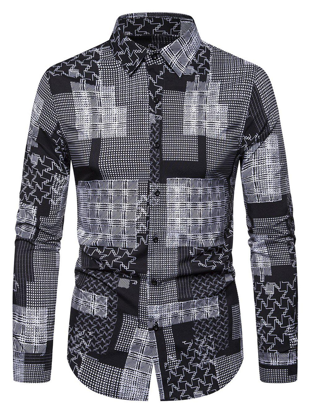 Patchworks Printed Casual Long-sleeved Shirt - BLACK 2XL