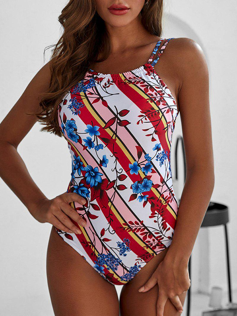 Striped Floral Print Padded One-piece Swimsuit - multicolor 2XL