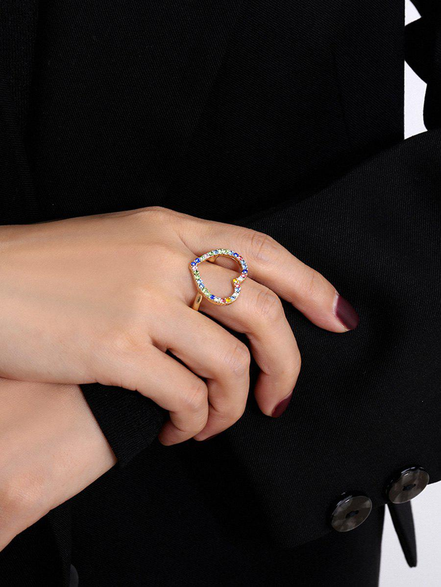 Colored Rhinestone Hollow Heart-shape Ring - GOLD