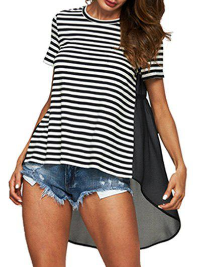 Striped Print Chiffon Insert High Low T-shirt - BLACK L