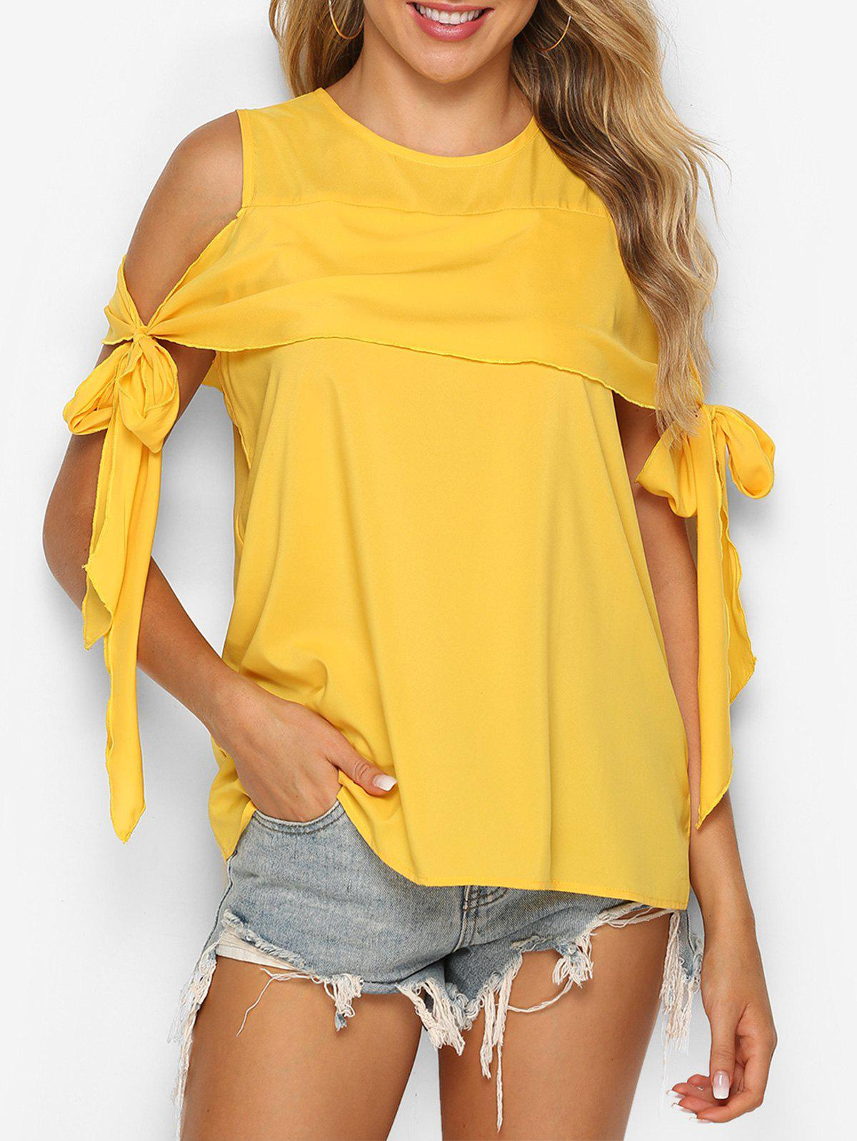Cold Shoulder Knotted Flounce Blouse - BRIGHT YELLOW S