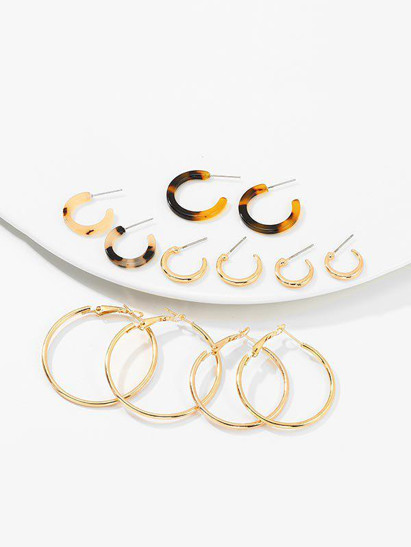 6Pairs Leopard C Shape Earrings Set - GOLD