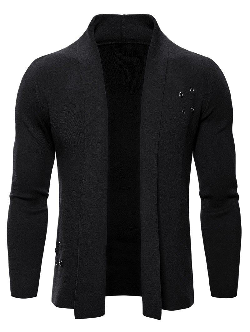 Solid Color Casual Knitted Cardigan - BLACK XL