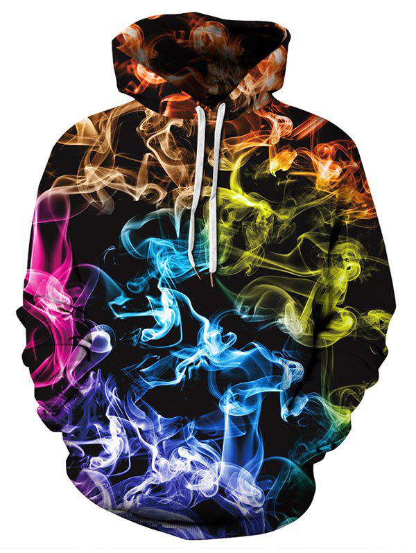 Aurora Color Print Pocket Hoodie - multicolor L