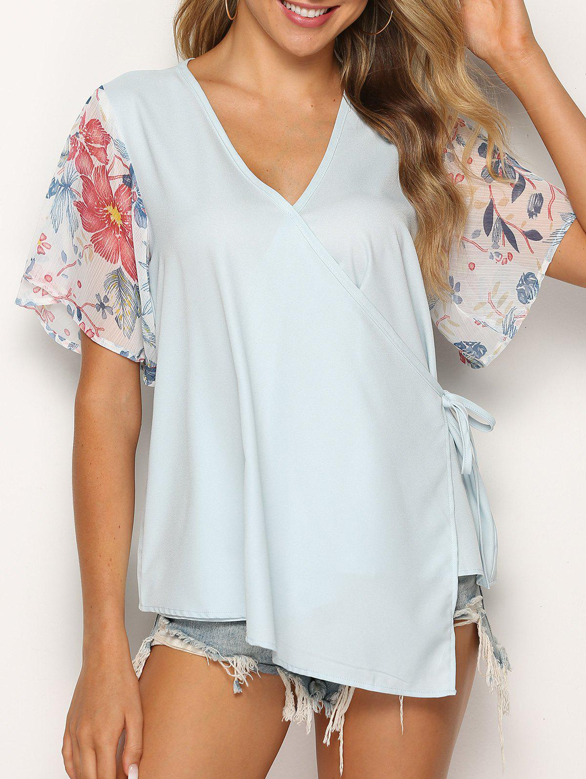 Flower Print Asymmetric Knotted Wrap Blouse - LIGHT BLUE L