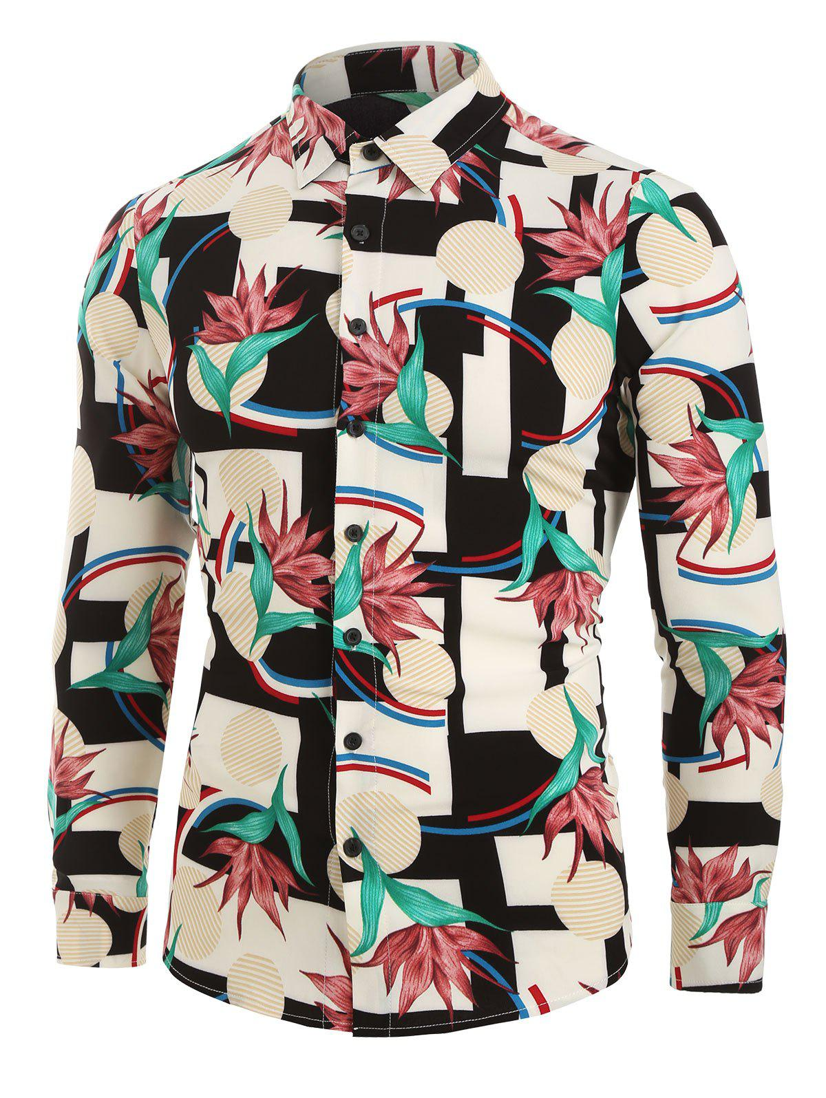 Flower Geometric Print Button Up Shirt - multicolor A M