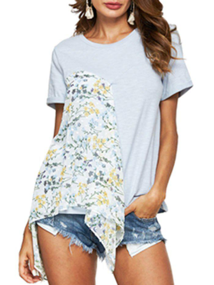 Tiny Floral Print Asymmetric T-shirt - POWDER BLUE M