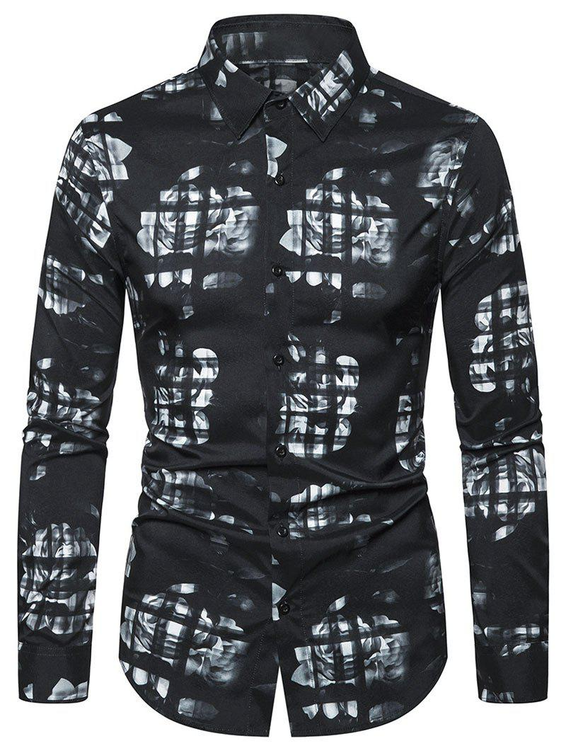 Floral Pattern Leisure Long-sleeved Shirt - BLACK 2XL