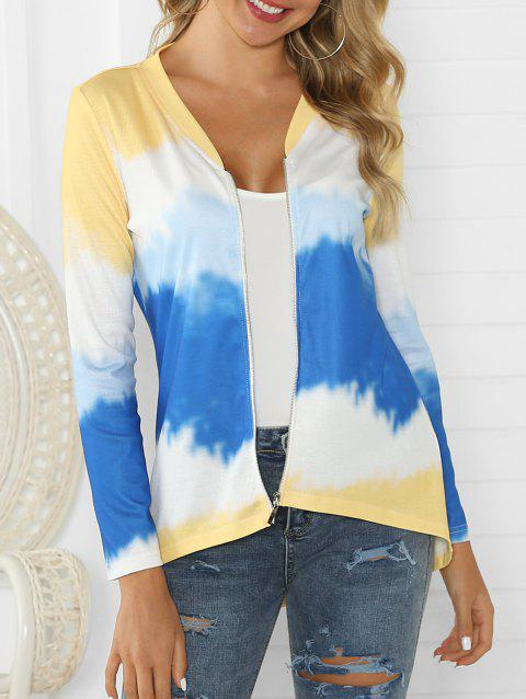Zip Up Ombre High Low Cardigan