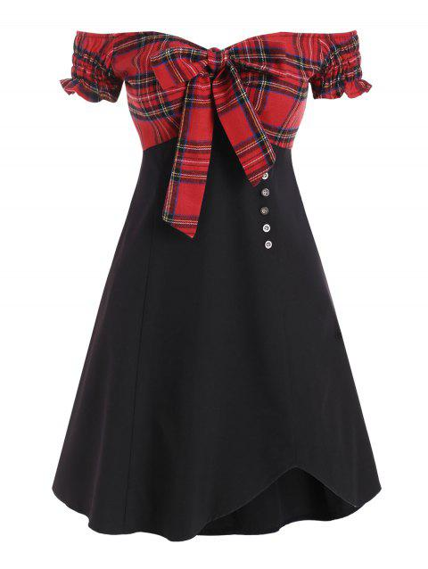 Tie Front Plaid Panel Off Shoulder Mini Dress