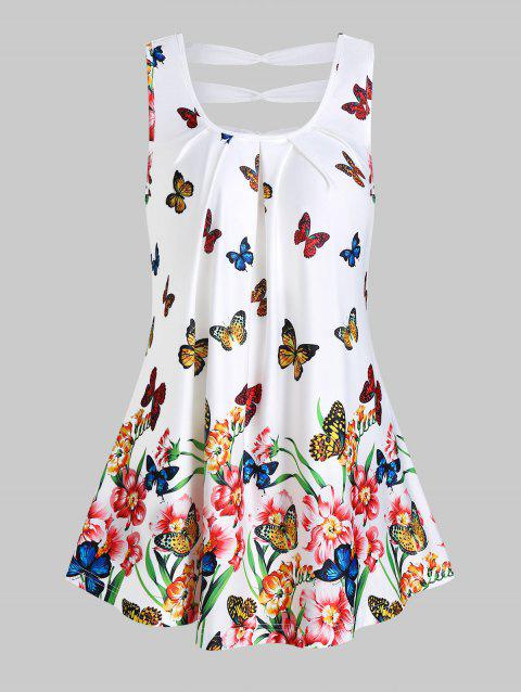 Butterflies and Flower Print Ruched Tank Top