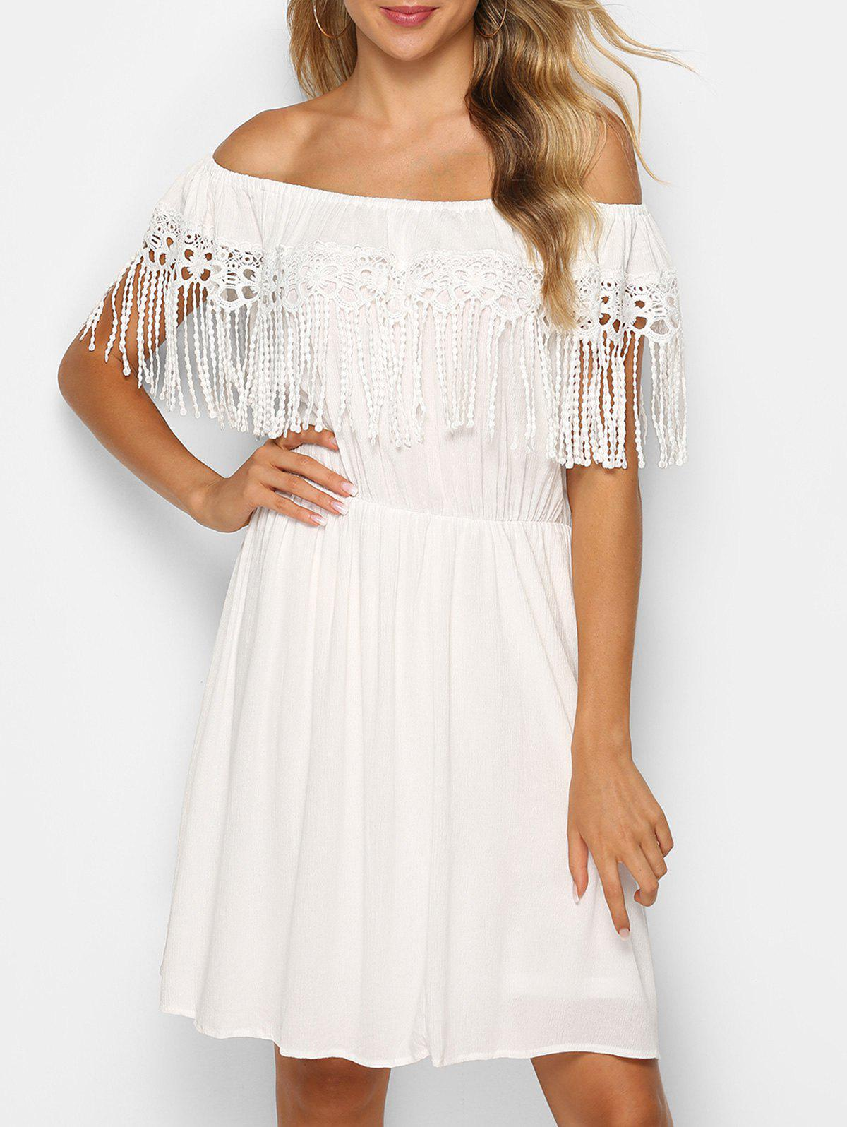 Off The Shoulder Fringed Lace Insert Dress - WHITE M