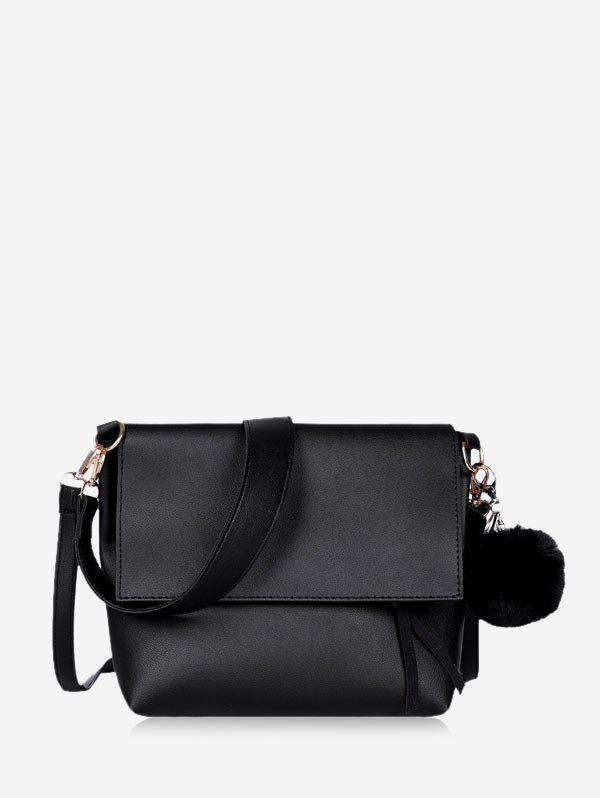 Pom Pom Flap Leather Crossbody Bag - BLACK