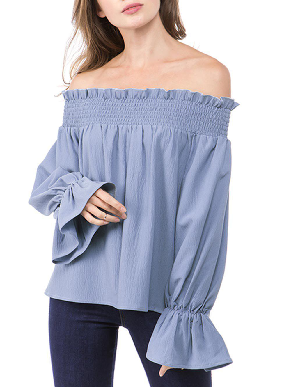 Poet Sleeve Off The Shoulder Shirred Blouse - LIGHT BLUE M