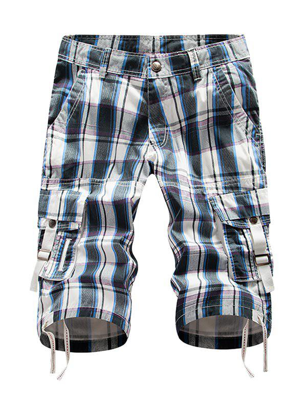 Zip Fly Plaid Cargo Shorts - CRYSTAL BLUE 32