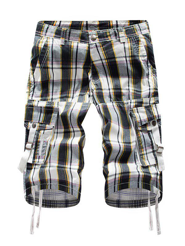 Zip Fly Plaid Cargo Shorts - SUN YELLOW 32
