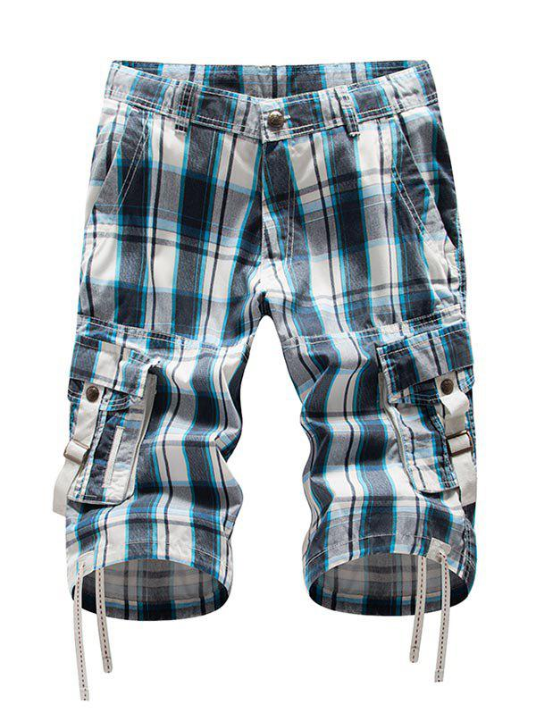 Zip Fly Plaid Cargo Shorts - MEDIUM TURQUOISE 38
