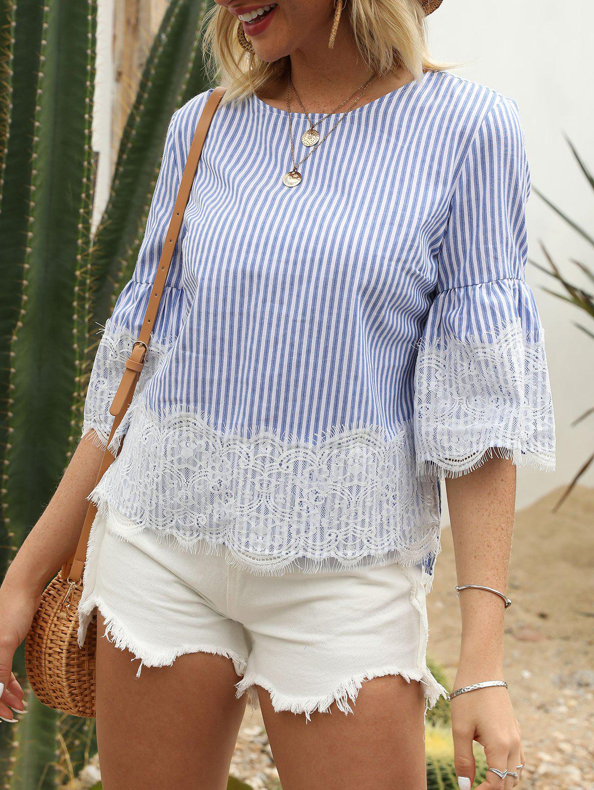 Striped Print Flare Sleeve Lace Insert Blouse - SEA BLUE S