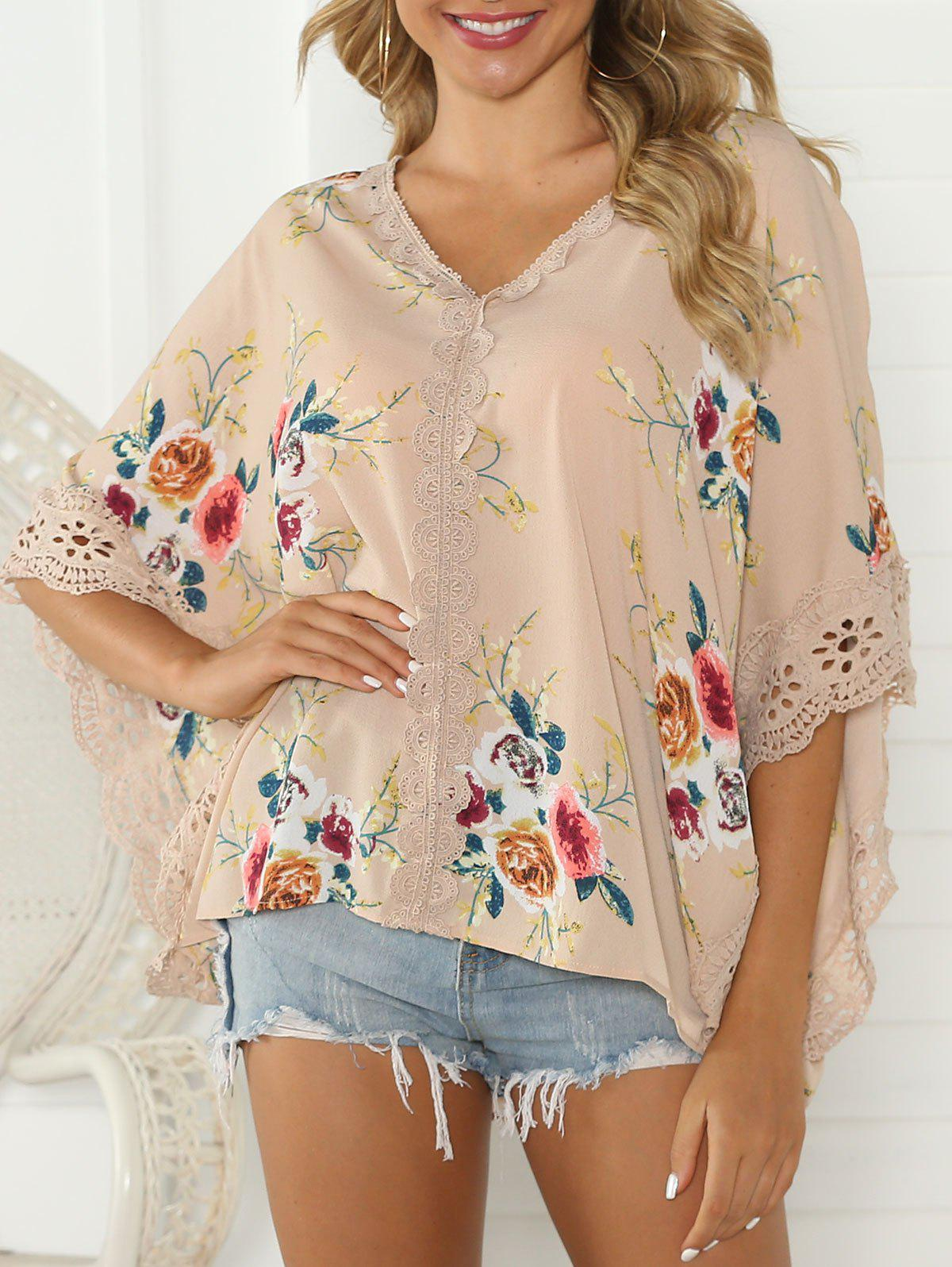 Flower Print Butterfly Sleeve Lace Trim Blouse - CHAMPAGNE S