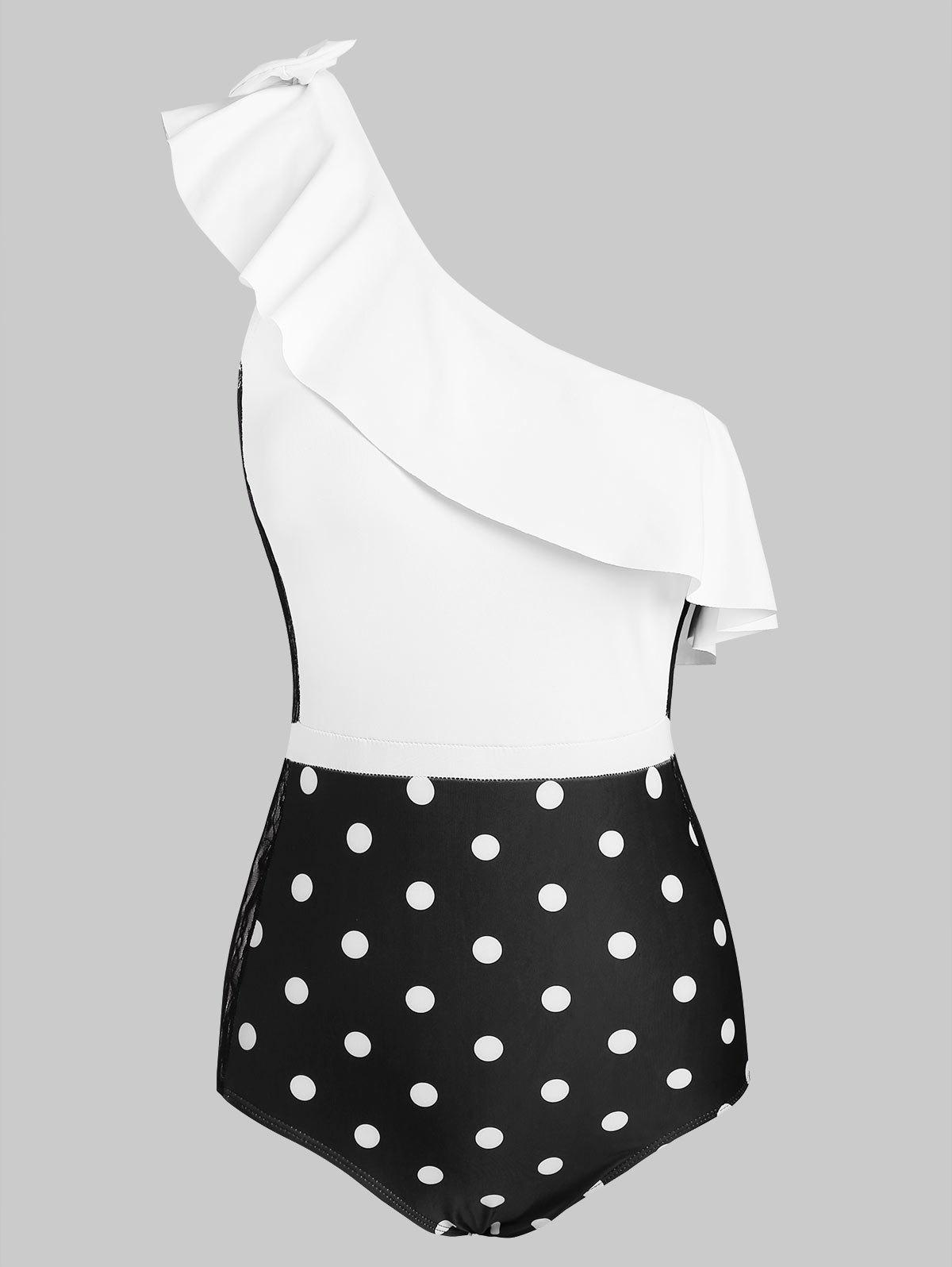 Polka Dot Ruffle Lace Panel One Shoulder One-piece Swimsuit - WHITE L