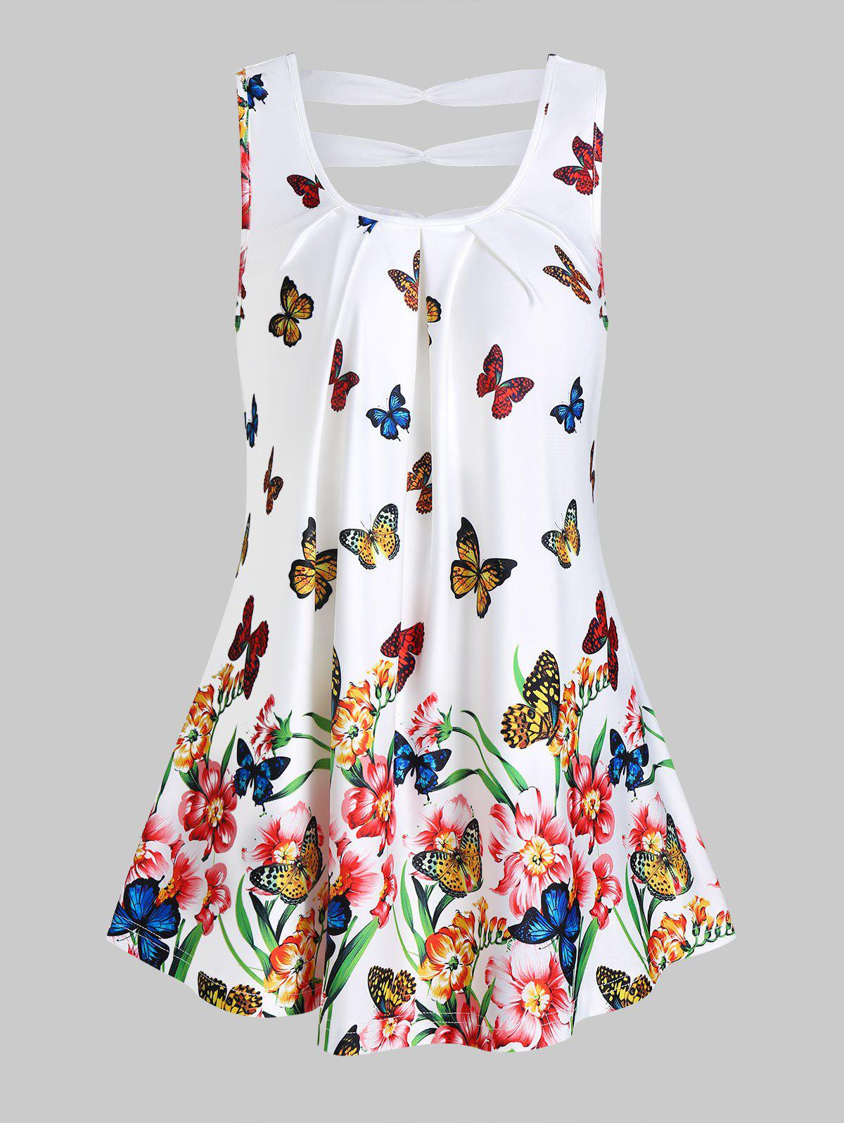Butterflies and Flower Print Ruched Tank Top - WHITE 3XL
