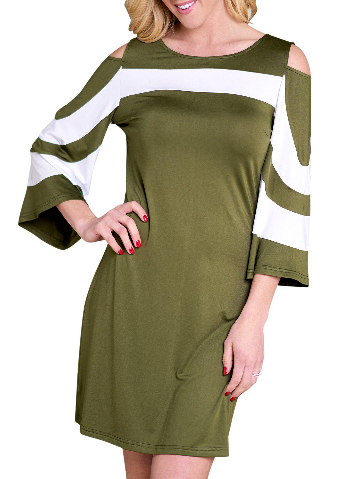 Cold Shoulder Flare Sleeve Contrast Dress - FERN GREEN L