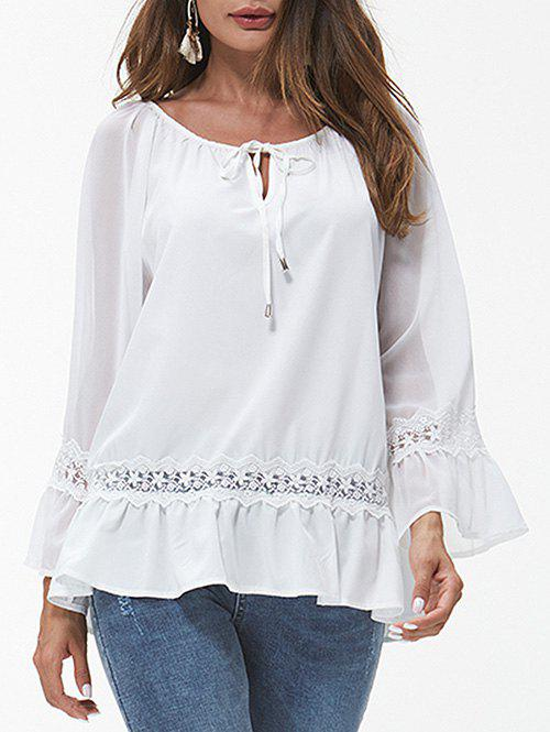Lace Insert Poet Sleeve Peplum Blouse - WHITE 2XL