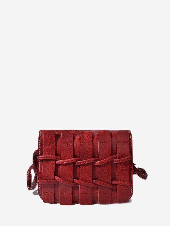 Plain Woven Leather Mini Crossbody Bag - RED WINE