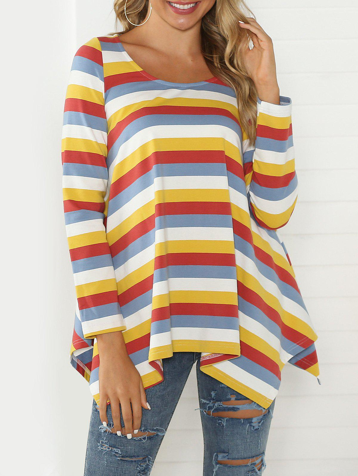 Striped Print Hanky Hem T-shirt - multicolor A L