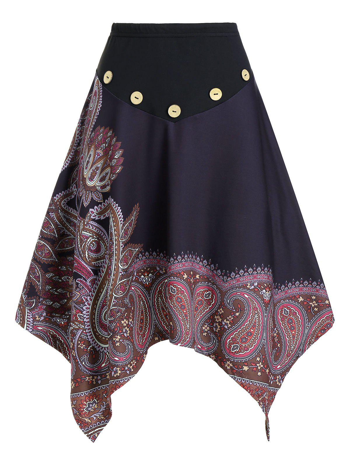Paisley Print Mock Button Elastic Waist Asymmetrical Skirt - BLACK M