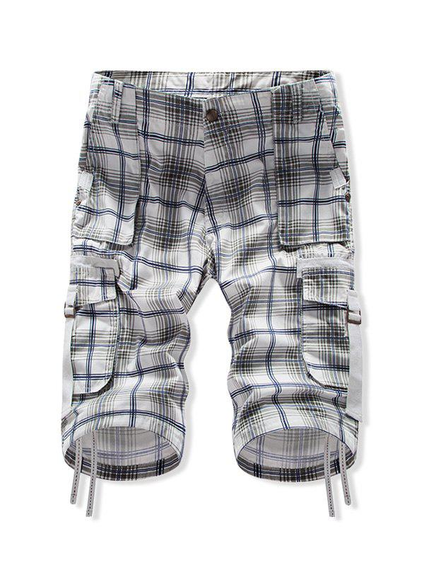 Plaid Zip Fly Multi-pocket Casual Shorts - MIDNIGHT BLUE 34