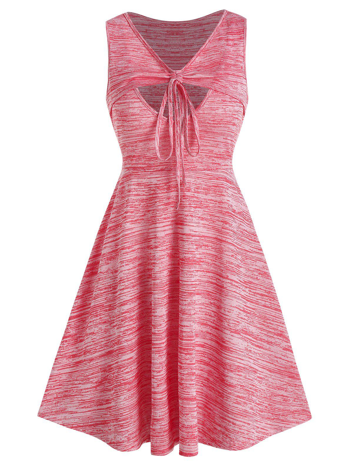 Space Dye Cinched Cutout V Neck Dress - PINK ROSE XL