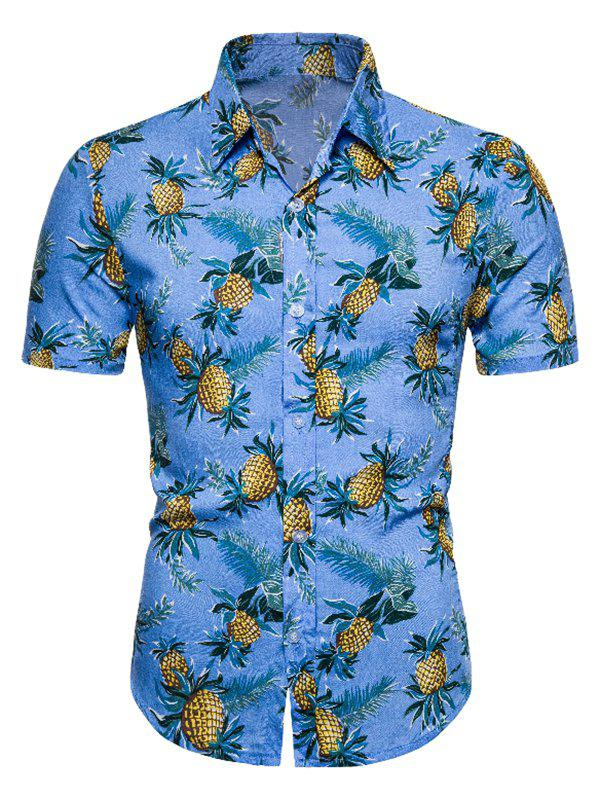 Pineapple Print Short Sleeve Button Up Shirt - DEEP SKY BLUE M