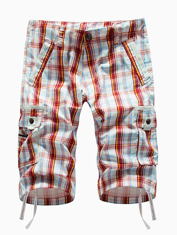 Plaid Multi-pocket Cargo Shorts - RED 34