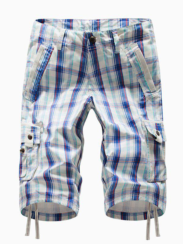 Plaid Multi-pocket Cargo Shorts - OCEAN BLUE 36