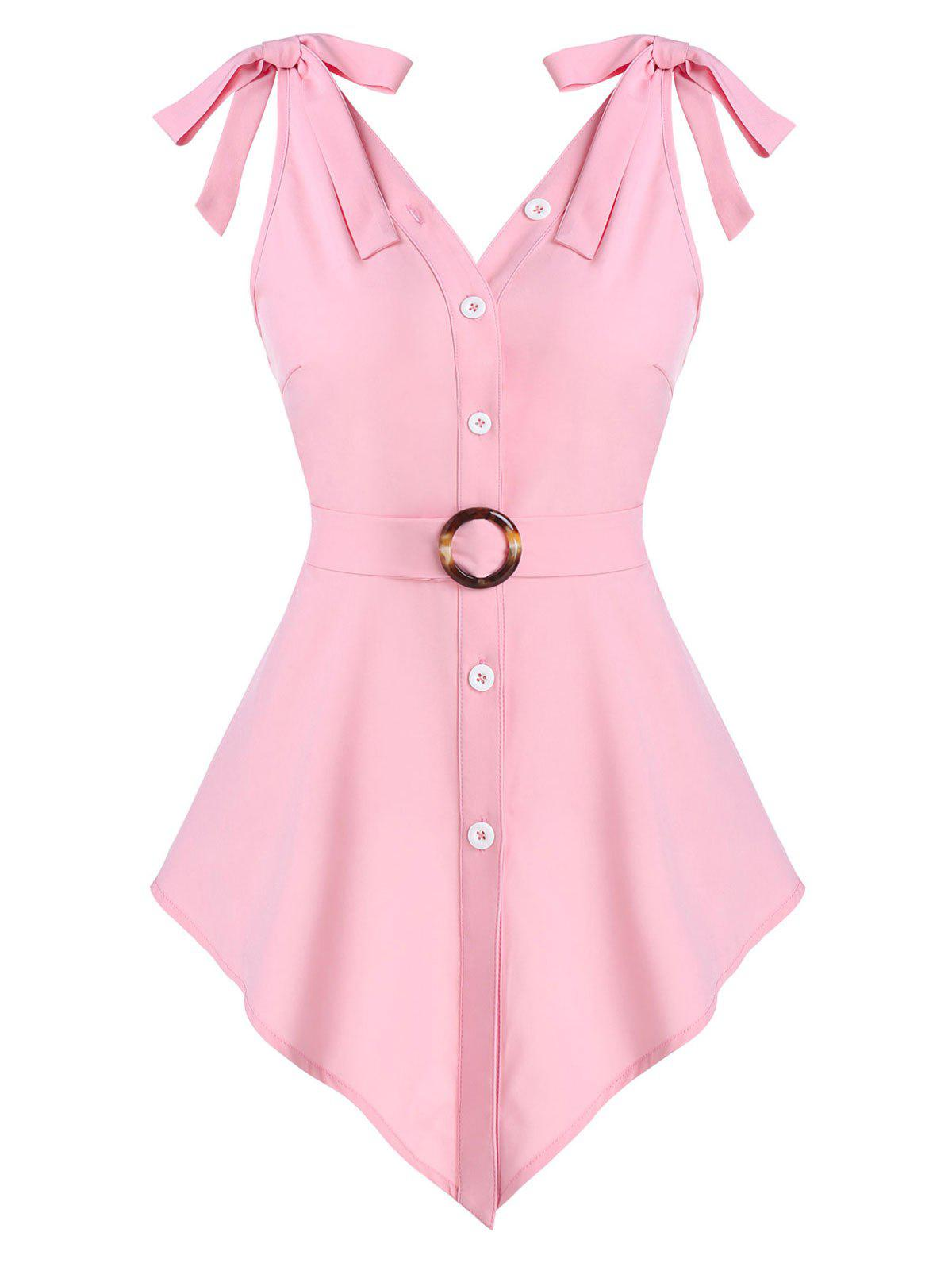 Pointed Hem Bowknot O-ring Belted Tank Top - PINK 3XL