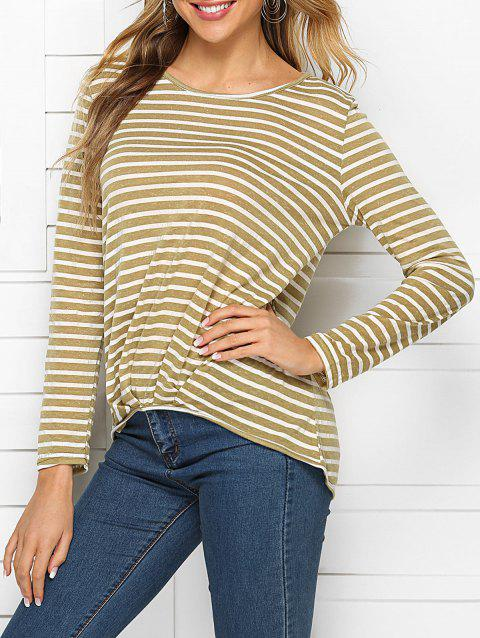 Ruched High Low Stripes Tee