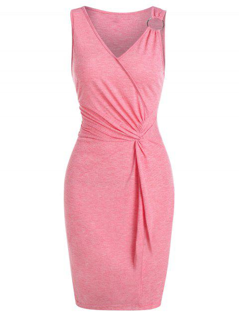 Twist Front O-ring Sleeveless Heathered Bodycon Dress