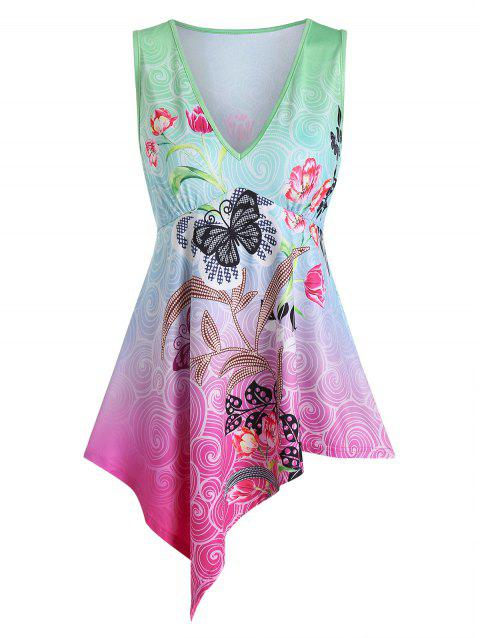 Butterflies and Flowers Print Asymmetric Tank Top