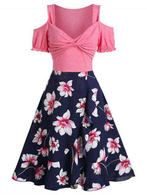 Floral Print Open Shoulder Short Sleeve A Line Dress