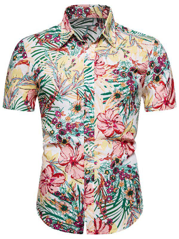 Tiny Flower Button Up Hawaii Shirt - multicolor 3XL