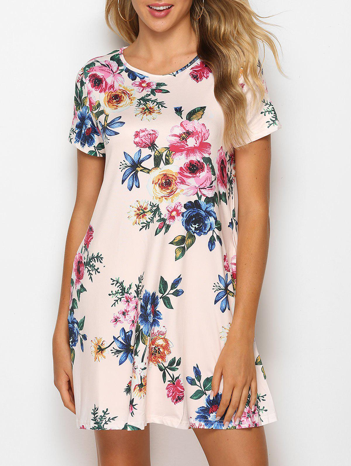 Flower Print Mini T-shirt Dress - APRICOT M