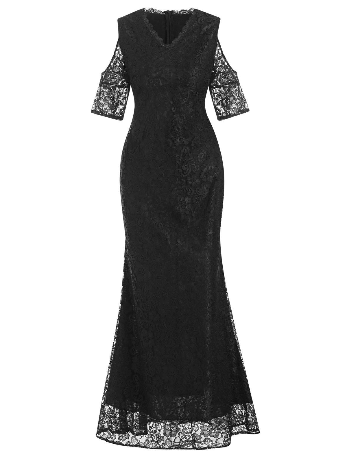 Lace Cold Shoulder Maxi Evening Dress - BLACK L