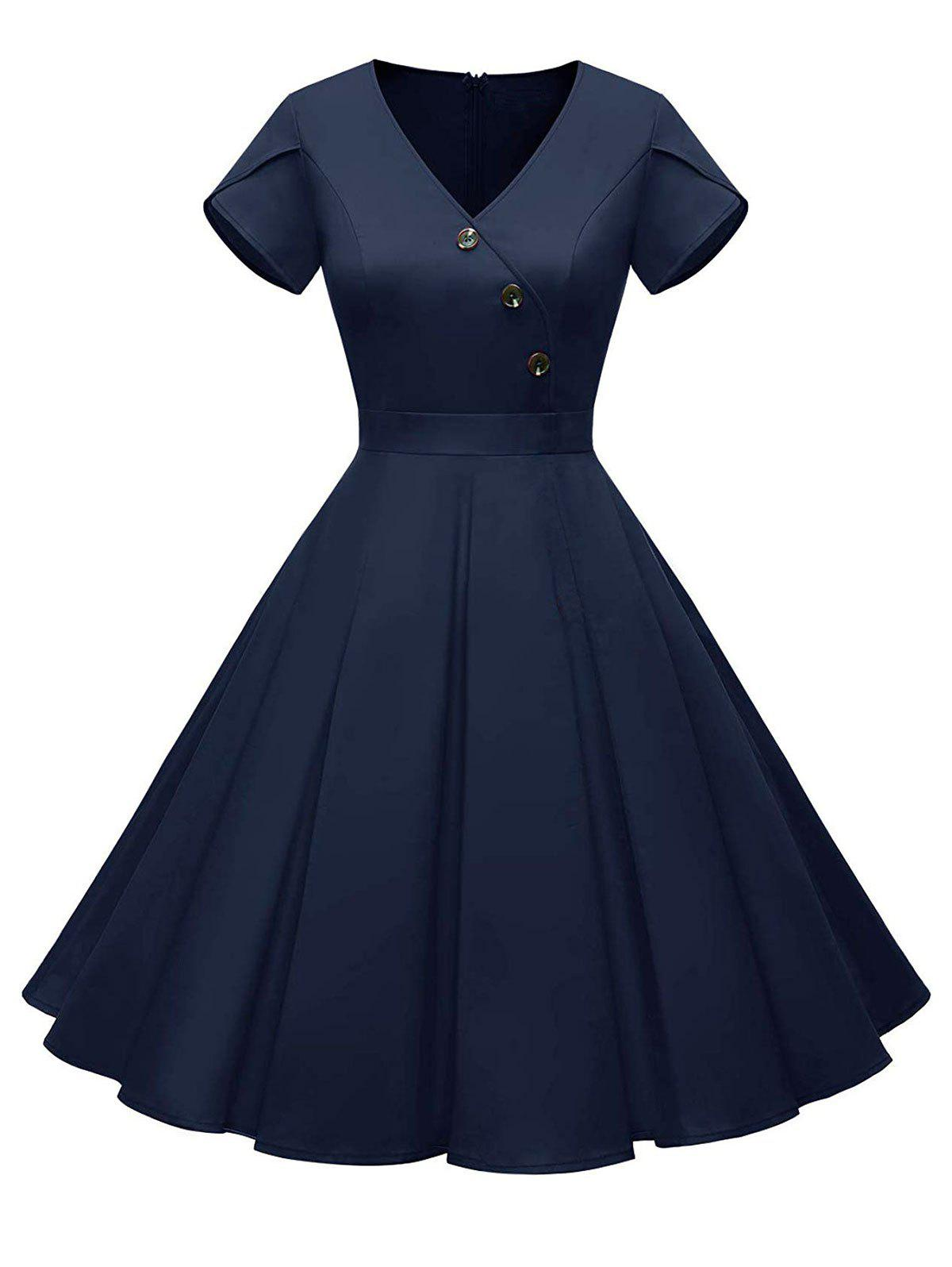 Petal Sleeves Mock Button V Neck Dress - DEEP BLUE S