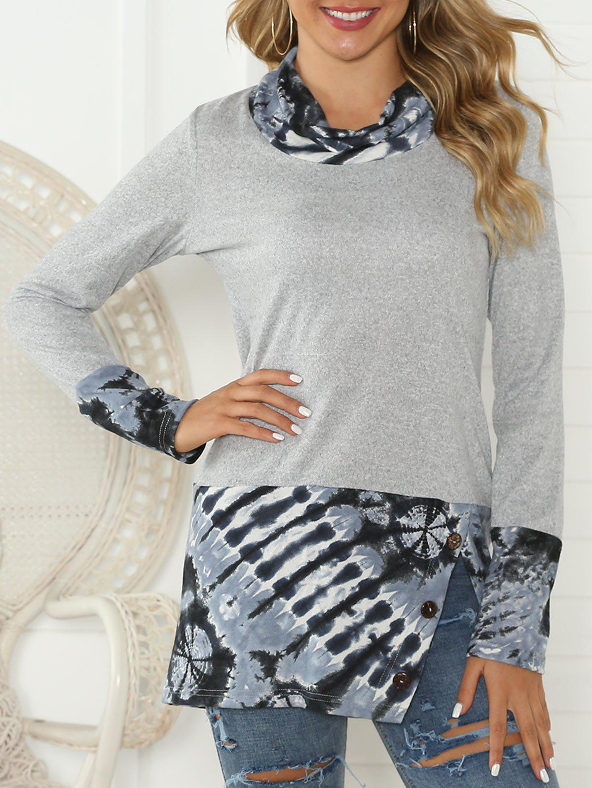 Cowl Neck Slit Printed Panel Top - LIGHT GRAY S