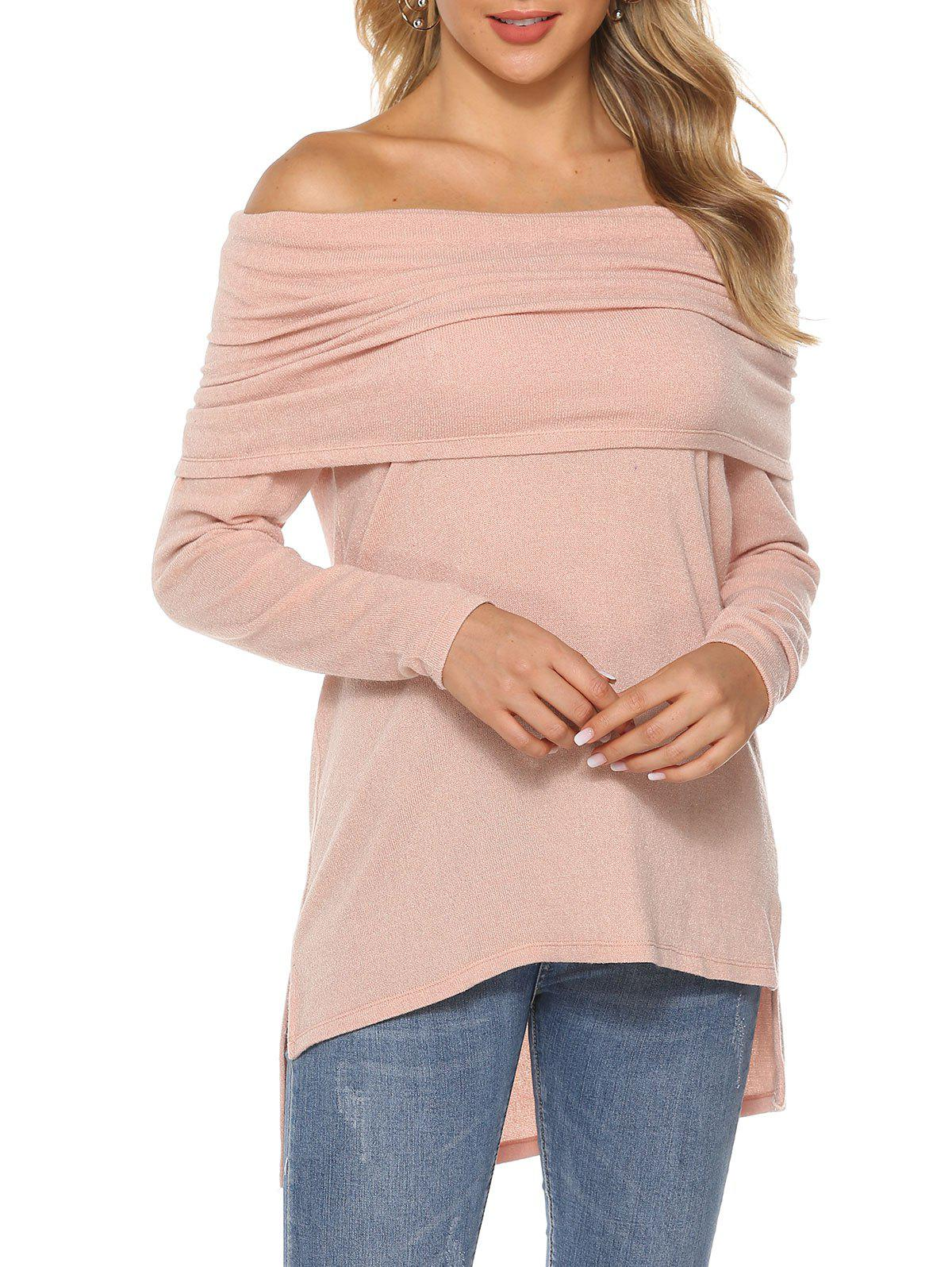Raglan Sleeve High Low Slit Top - ROSE L