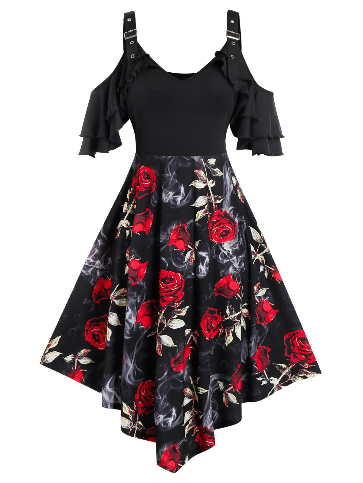 Plus Size Cold Shoulder Ruffle Floral Print Dress - BLACK 4X