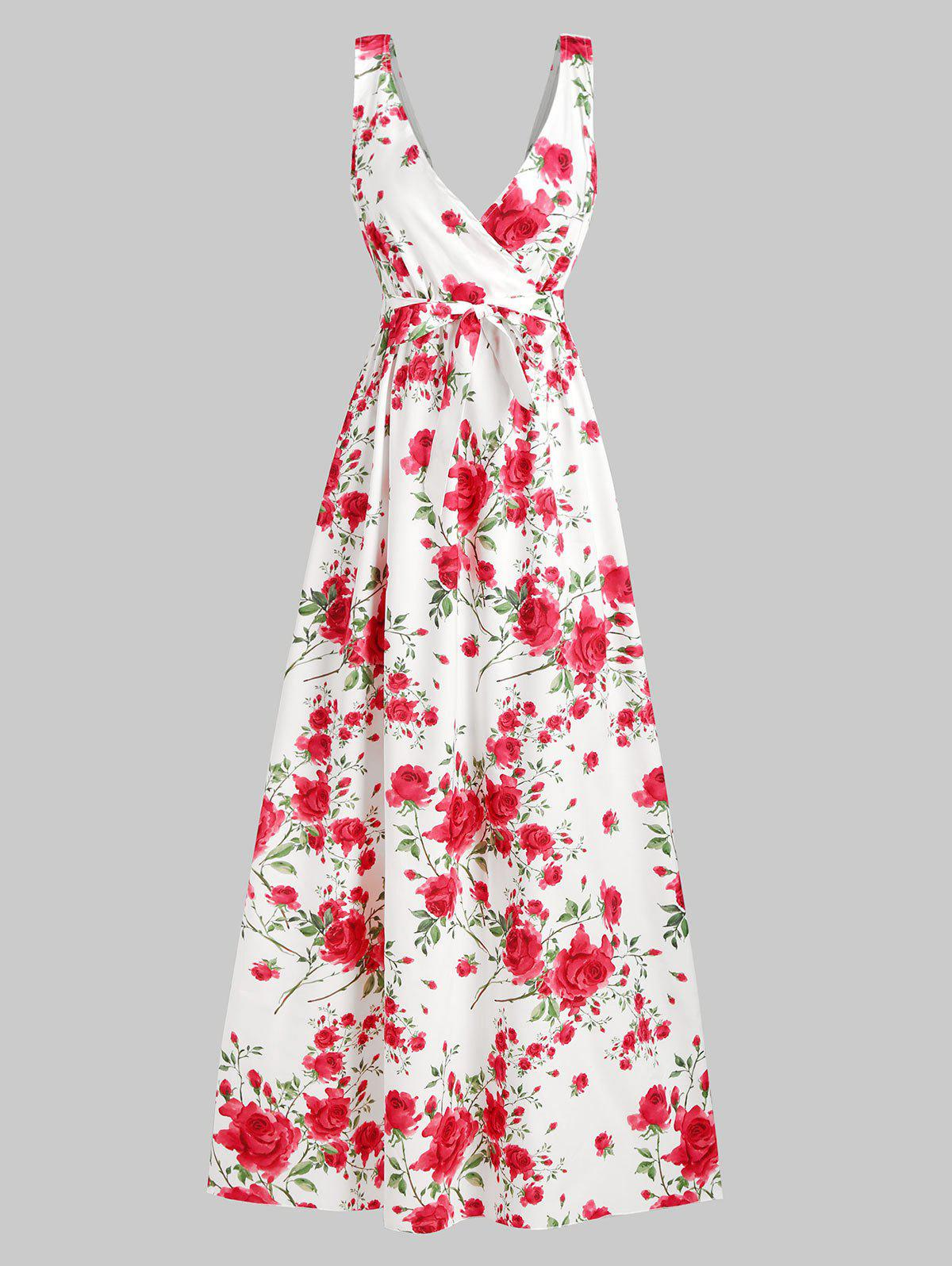 Floral Belted Maxi Surplice Dress - WHITE XL