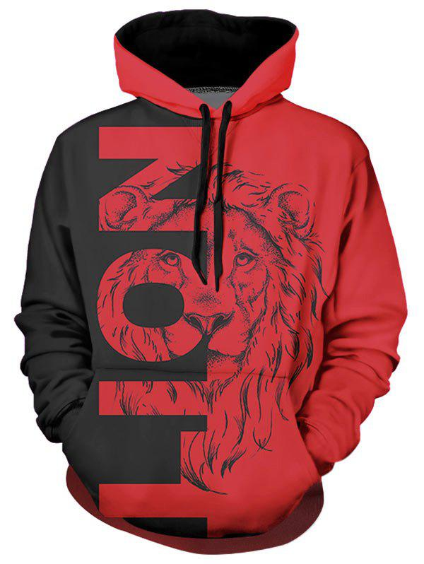 Contrast Lion Graphic Front Pocket Casual Hoodie - multicolor XL