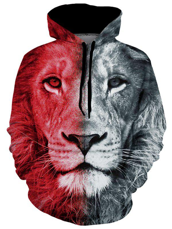 Lion Graphic Pouch Pocket Casual Hoodie - multicolor L